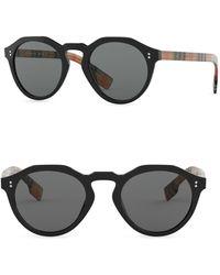 fb27de5449e0 Lyst - Burberry London Canvas Check Aviator 54mm Sunglasses in ...