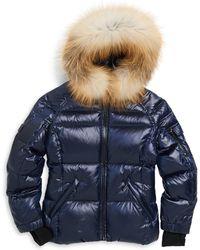 Sam. - Girls Blake Fox Fur-trim Down Puffer Jacket - Lyst
