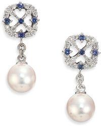 Mikimoto - Cl Cherish 7mm White Cultured Akoya Pearl, Diamond, Sapphire & 18k White Gold Drop Earrings - Lyst