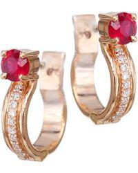 Melissa Kaye - Jen Maia 18k Rose Gold Ruby 0.1 Tcw Diamond Hoop Earrings - Lyst