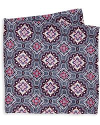 Saks Fifth Avenue - Double Faced Floral Printed Silk Pocket Square - Lyst
