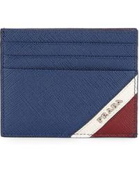 ee5247f6d3f Prada Saffiano Leather Card Case in White for Men - Lyst