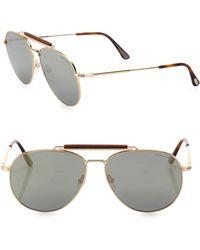 5e3aa4ce45f Tom Ford Women s Indiana 58mm Mirrored Aviator Sunglasses - Gold in ...