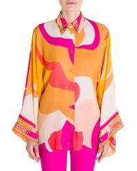 Emilio Pucci - Graphic Print Silk Kimono Blouse - Lyst