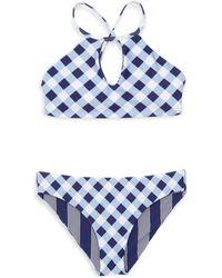 Splendid - Girl's Breaking Plaid 2-piece Reversible Bikini - Lyst