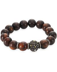 0b08c6f2d Gucci San Valentino Wood & Sterling Silver Beaded Bracelet in Red - Lyst