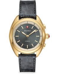 Michele Watches - Gold-plated Shadow Grey Dial & Shadow Grey Ostrich Hybrid Smartwatch - Lyst