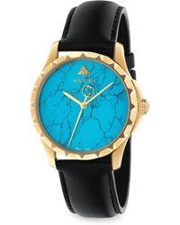 Gucci - Le Marche Des Merveilles Synthetic Turquoise, Goldtone Pvd & Leather Strap Watch - Lyst