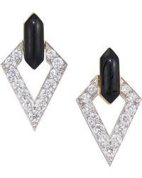 David Webb - Motif Platinum, 18k Yellow Gold & Diamond Drop Earrings - Lyst