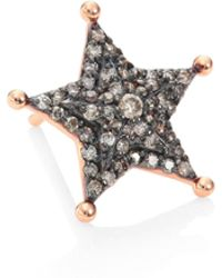 Kismet by Milka - Sheriff Star Diamond & 14k Rose Gold Single Stud Earring - Lyst