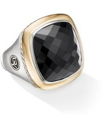 David Yurman Albion Statement Ring With 18k Gold And Champagne Citrine Or Reconstituted Turquoise - Black