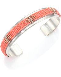 Chan Luu - Beaded Sterling Silver Cuff Bracelet - Lyst
