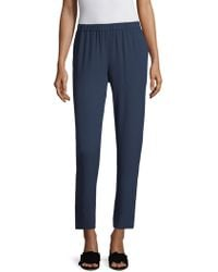 Eileen Fisher - System Silk Georgette Slouchy Ankle Pants - Lyst