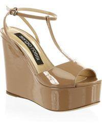 Sergio Rossi | Leather T-strap Platform Wedge Sandals | Lyst