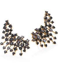 Hueb | Luminus Black Diamond & 18k Yellow Gold Ear Cuffs | Lyst
