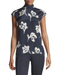St. John - Falling Floral Print Stretch Top - Lyst