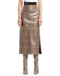 Fendi - Glazed Check Midi Skirt - Lyst