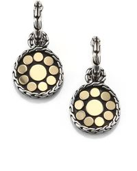 John Hardy - Dot 18k Yellow Gold & Sterling Silver Drop Earrings - Lyst