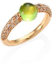 Pomellato - M'ama Non M'ama Brown Diamond, Peridot & 18k Rose Gold Ring - Lyst