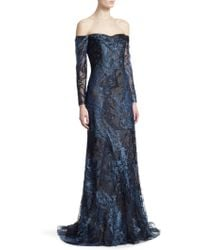 Rene Ruiz - Embroidered Tulle Off-the-shoulder Gown - Lyst