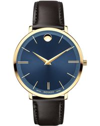 Movado | Ultra Slim Goldtone Stainless Steel & Leather Strap Watch | Lyst