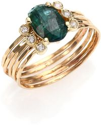 Jacquie Aiche - Green Tourmaline, Diamond & 14k Yellow Gold Multi-row Waif Ring - Lyst