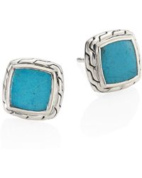 John Hardy - Classic Chain Turquoise & Sterling Silver Stud Earrings - Lyst