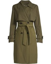 Jane Post - Women's Mixed Media Storm Trench Coat - Olive - Lyst