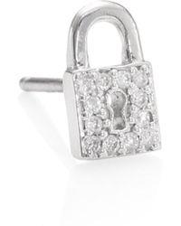 Sydney Evan - Lock Diamond Stud Earrings - Lyst