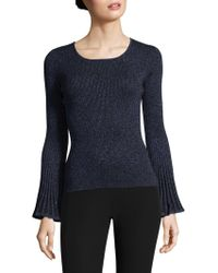 MILLY - Metallic Rib Sweater - Lyst
