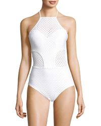 Shoshanna - One-piece Eyelet Swimsuit - Lyst