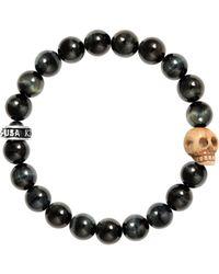King Baby Studio - Tiger Eye Sterling Silver Skull Beaded Bracelet - Lyst