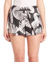 Kendall + Kylie - St. Tropez Printed Silk Shorts - Lyst