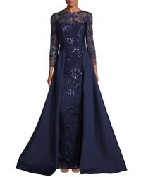Teri Jon - Embellished Lace Overlay Gown - Lyst