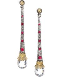Konstantino - Pythia Crystal Corundum, Sterling Silver & 18k Yellow Gold Drop Earrings - Lyst