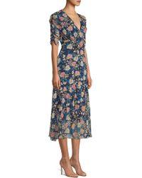 Shoshanna - Women's Giardino Floral V-neck Dress - Navy Multi - Size 14 - Lyst