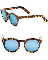 Illesteva - Leonard Ii Tortoise Round Mirrored Sunglasses - Lyst