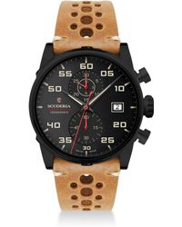 CT Scuderia Testa Piatta Ion-plated Stainless Steel & Leather Strap Watch - Multicolor
