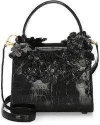ff19c7197f44 Nancy Gonzalez - Women's Small Leaf Lily Crocodile Handbag - Black - Lyst