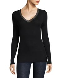 Hanro - Laced Neck Henley - Lyst