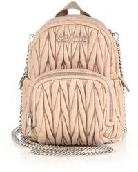 Miu Miu - Mini Matelasse Leather Crossbody Backpack - Lyst