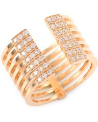 Melissa Kaye - Izzy Diamond & 18k Yellow Gold Open Ring - Lyst