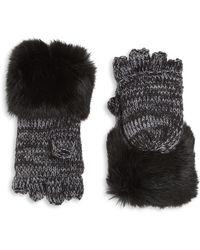 Surell - Kid's Rabbit Fur Cuff Convertible Mittens - Lyst