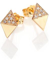 Zoe Chicco - Diamond & 14k Yellow Gold Double Triangle Stud Earrings - Lyst