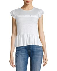 Rebecca Taylor - Short-sleeve Smocked Jersey Top - Lyst