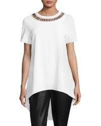 St. John - Beaded Neck Top - Lyst