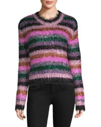 MILLY - Fuzzy Stripe Metallic Sweater - Lyst