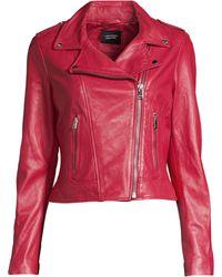 Lamarque - Women's Leather Biker Jacket - Peony Heart - Lyst
