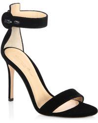 Gianvito Rossi - Portofino Velvet Ankle-strap Sandals - Lyst