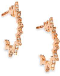 Diane Kordas - Pop Art Diamond & 18k Rose Gold Huggie Hoop Earrings - Lyst